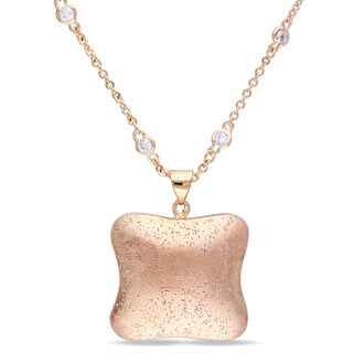 M by Miadora 18k Gold Plated Rosetone 2-7/8ct TGW Cubic Zirconia Pendant Necklace (16in)