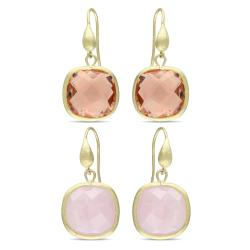 Miadora 12 Ct TGW Quartz Goldtone Earrings