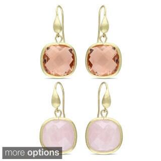 M by Miadora 12 Ct TGW Quartz Goldtone Earrings