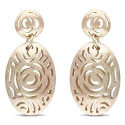 Miadora 18k Gold Plated Rosetone Dangle Earrings