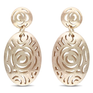 M by Miadora 18k Gold Plated Rosetone Dangle Earrings
