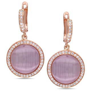 Miadora Pink Rhodium Plated Silver Simulated Cat Eye and Cubic Zirconia Earrings