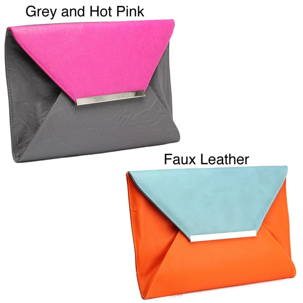 Nila Anthony Envelope Clutch in Blue and Orange