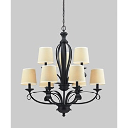 Charleston Matte Black and Creme Linen 9-light Chandelier