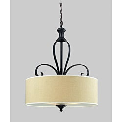 Charleston 29-inch Matte Black 3-light Chandelier