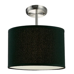 Albion One-Light Nickel Pendant with Black Shade