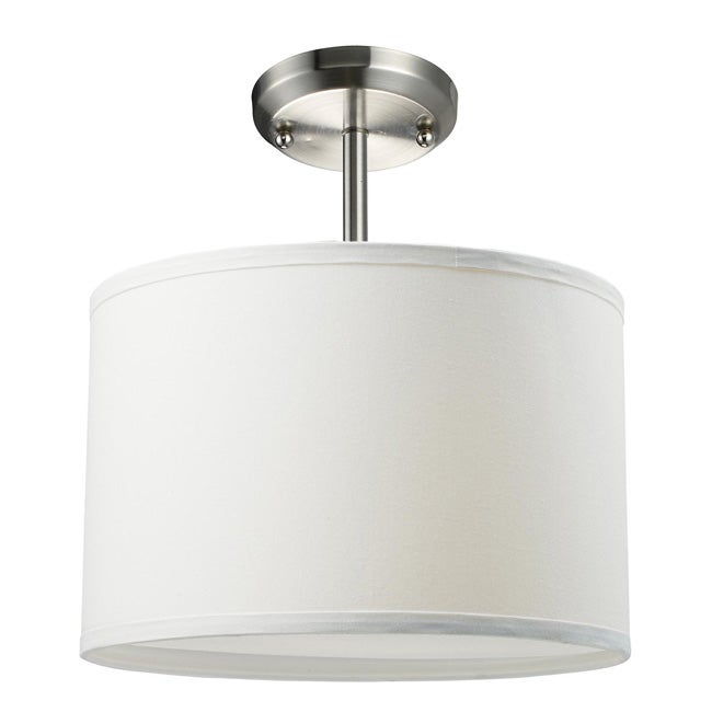 Albion One-Light Nickel Pendant with White Shade