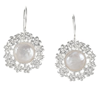 Flower Pearl Silver Earrings (Israel)