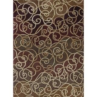 Hand-Tufted Walcott Burgundy Wool Rug (5'0 x 7'6)