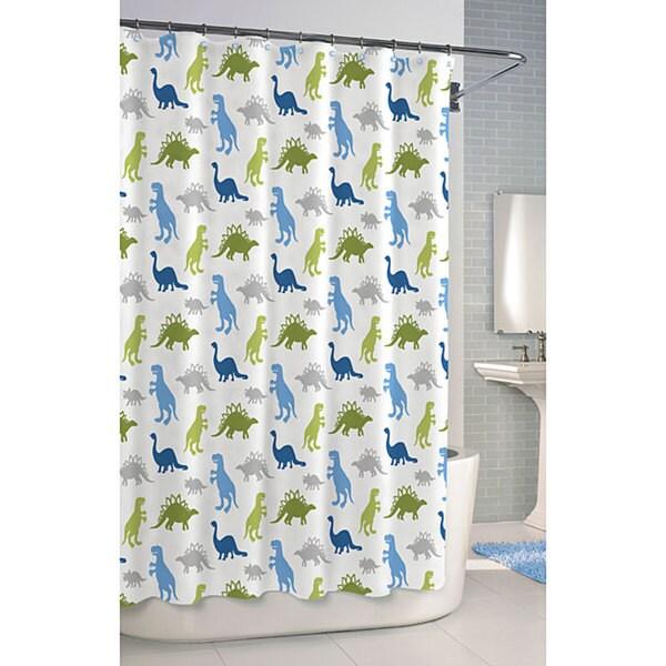 Dinosaur Printed Cotton Shower Curtain