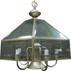 Bound Glass Satin Nickel 5-light Pendant