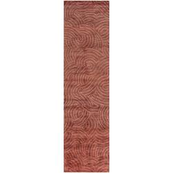 Julie Cohn Hand-knotted Vilas Red Abstract Design Wool Rug (2 '6 x 10')
