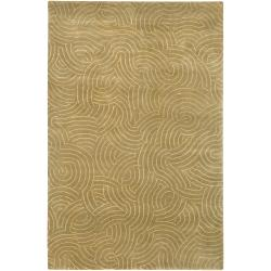 Julie Cohn Contemporary Hand-Knotted Vilas Beige Abstract-Design Wool Rug (5' x 8')