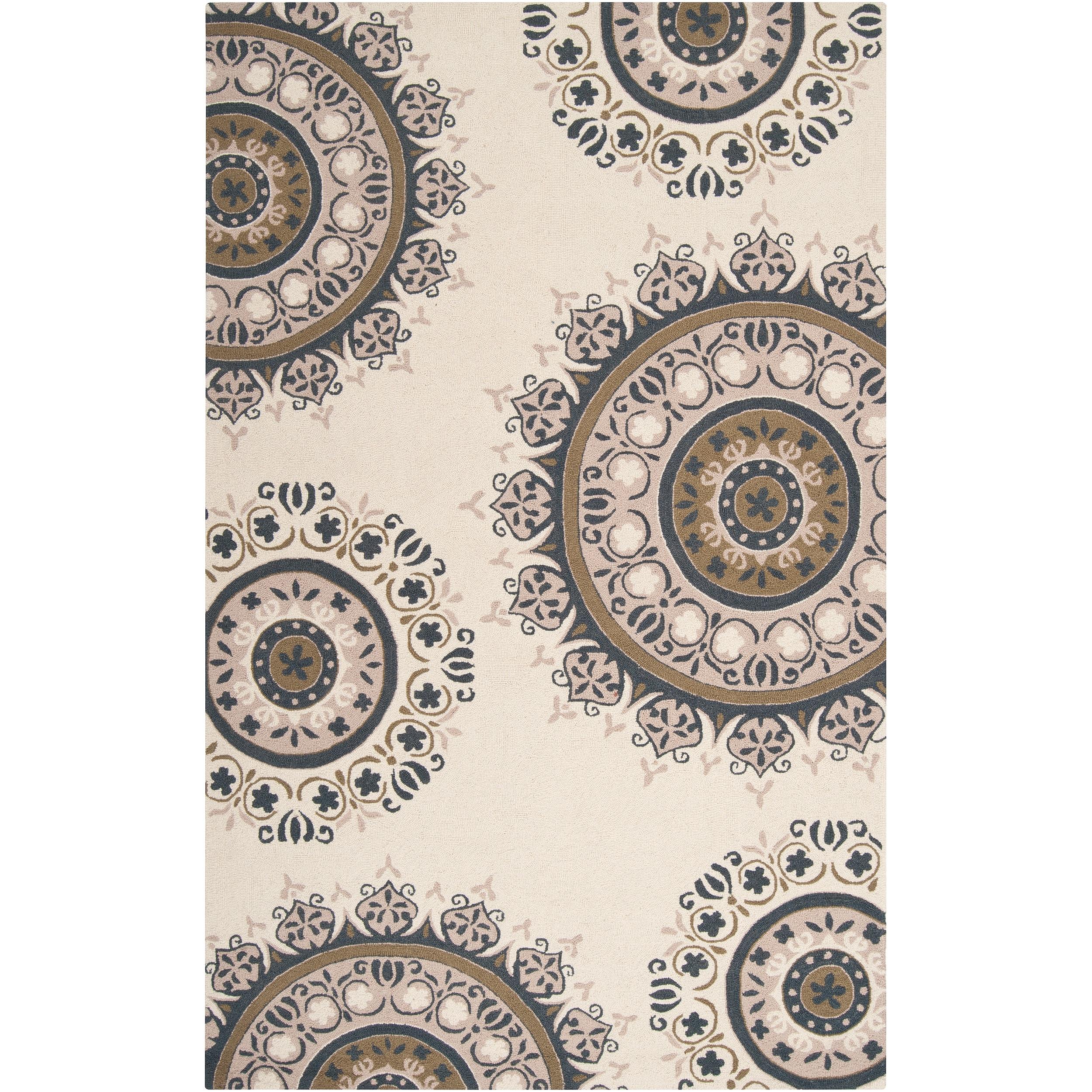 Hand-hooked Arbor Grey Wool Rug (2'6 x 4')