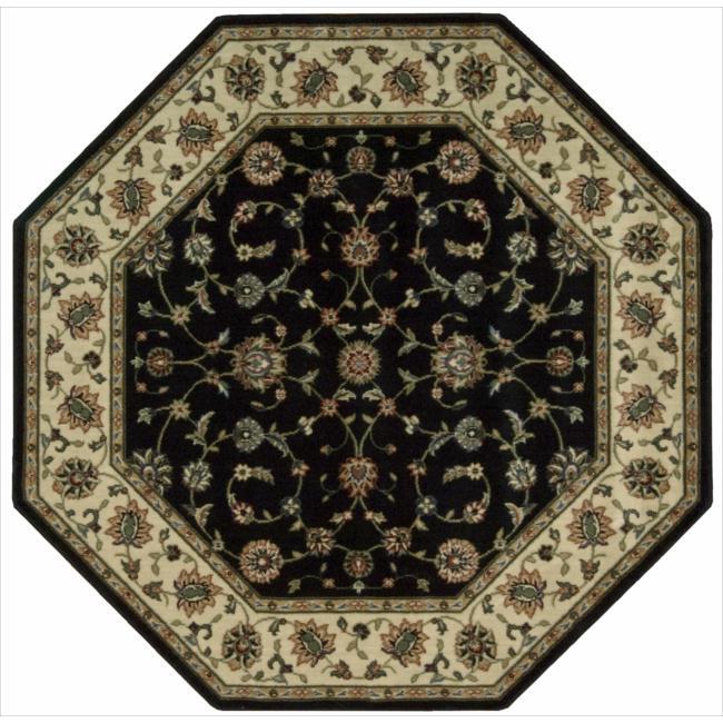 "Nourison Persian Arts Traditional Black Rug (5'3"" x 5'3"" Octagon)"