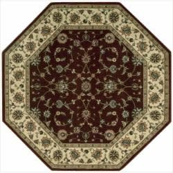 "Nourison Persian Arts Traditional Burgundy Area Rug (5'3"" x 5'3"" Octagon)"