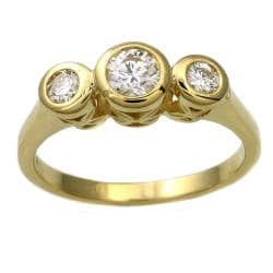 Beverly Hills Charm  14k Yellow Gold 1/2 ct. TDW 3-Stone Diamond Bezel Ring