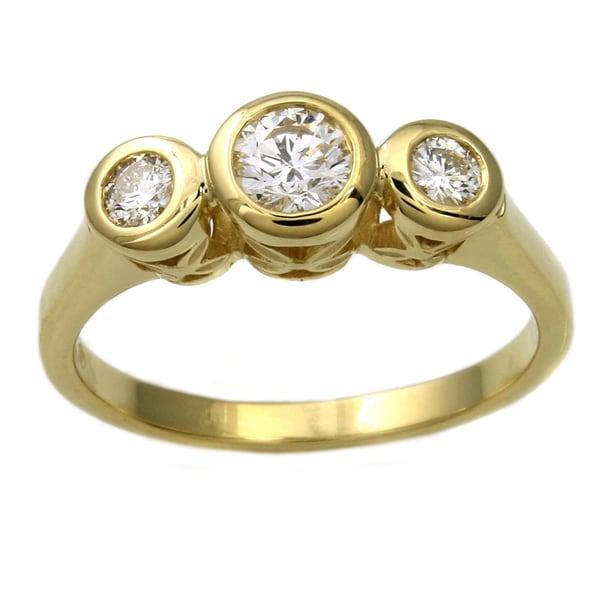 Beverly Hills Charm 14k Yellow Gold 1/2ct TDW Diamond Bezel Ring (H-I, SI2-I1)