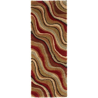 "Fabulous Multicolored Shag Runner Rug (2'7"" x 7'3"")"