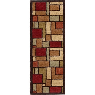 "Fabulous Geometric Multicolored Shag Runner Rug (2'7"" x 7'3"")"