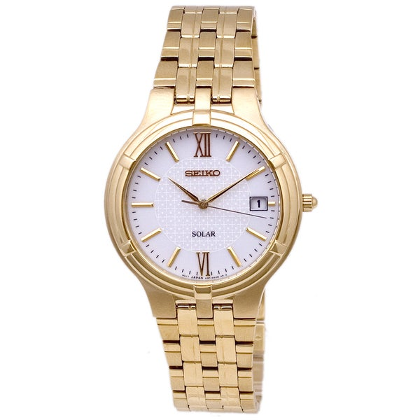 Seiko Men's White/ Gold Solar Watch