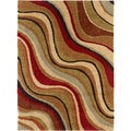 "Fabulous Multicolored Abstract Shag Rug (5'3"" x 7'3"")"