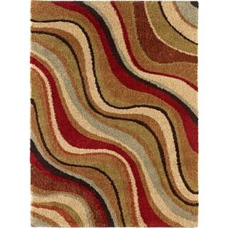 Fabulous Multicolored Abstract Shag Rug (5'3