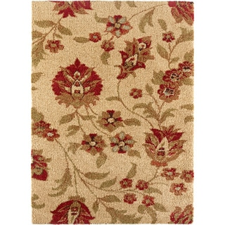 Fabulous Ivory Floral Shag Rug (5'3 x 7'3)