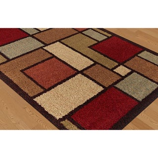 "Fabulous Multicolored Geometric Shag Area Rug (5'3"" x 7'3"")"