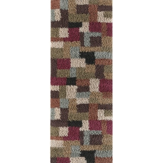 "Classy Transitional Shag Collection Multi Area Rug (2'7"" x 7'3"")"