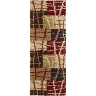 Classy Shag Collection Multi Area Rug (2'7 x 7'3)
