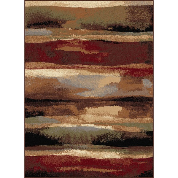 Alise Flora Red Area Rug (5'3 x 7'3)