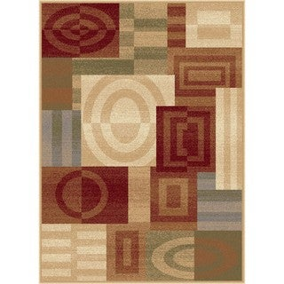 Flora Collection Ivory Geometric Area Rug (7'10 x 10'3)