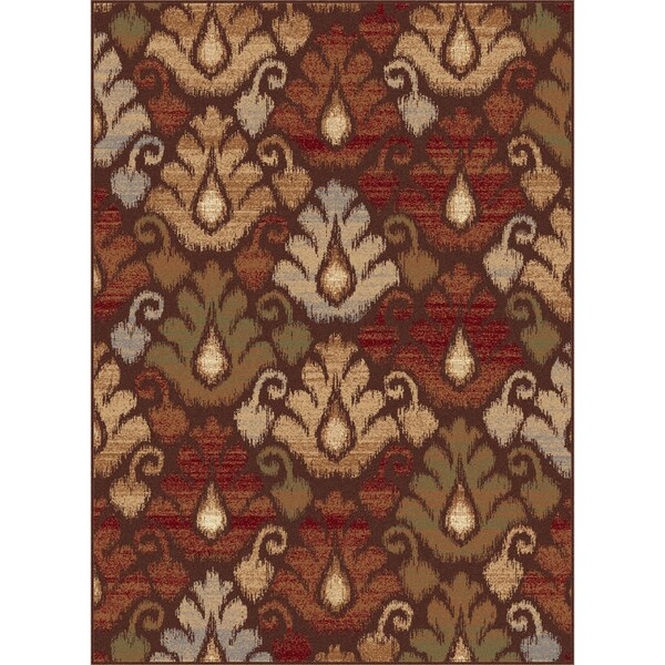 Flora Collection Brown Area Rug (7'10 x 10'3)