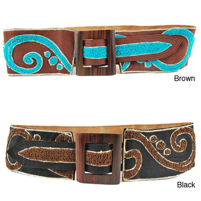 Swirly Broad Embrodery Belt (Indonesia)