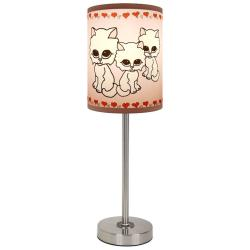 Lamp-In-A-Box Pink Kitties Brushed Nickel Lamp