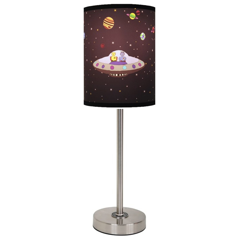 Lamp-In-A-Box Robots in Space Lamp with Brushed Nickel Base