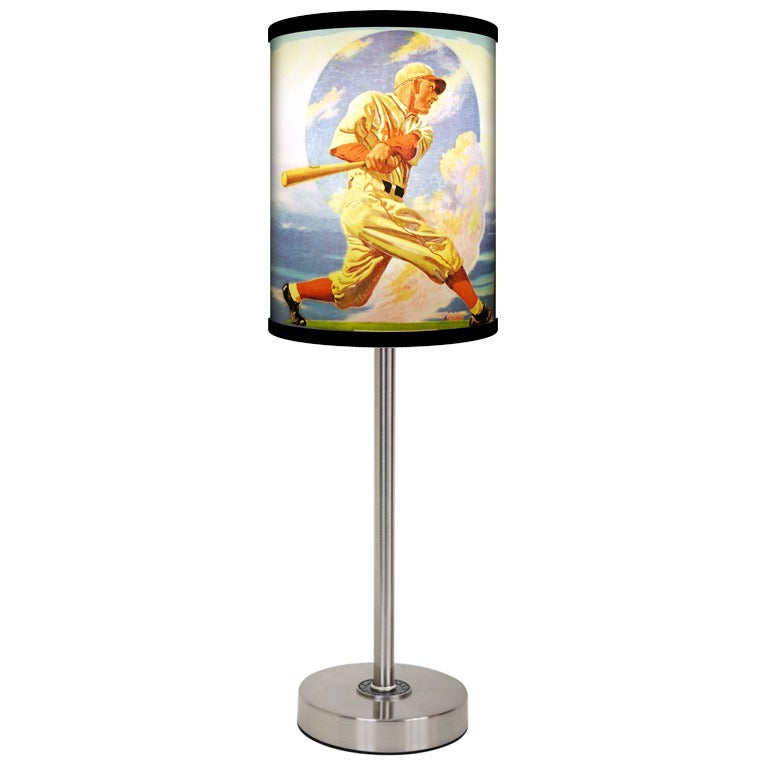 Lamp-In-A-Box Saturday Eve Post Baseball Brushed Nickel Table Lamp