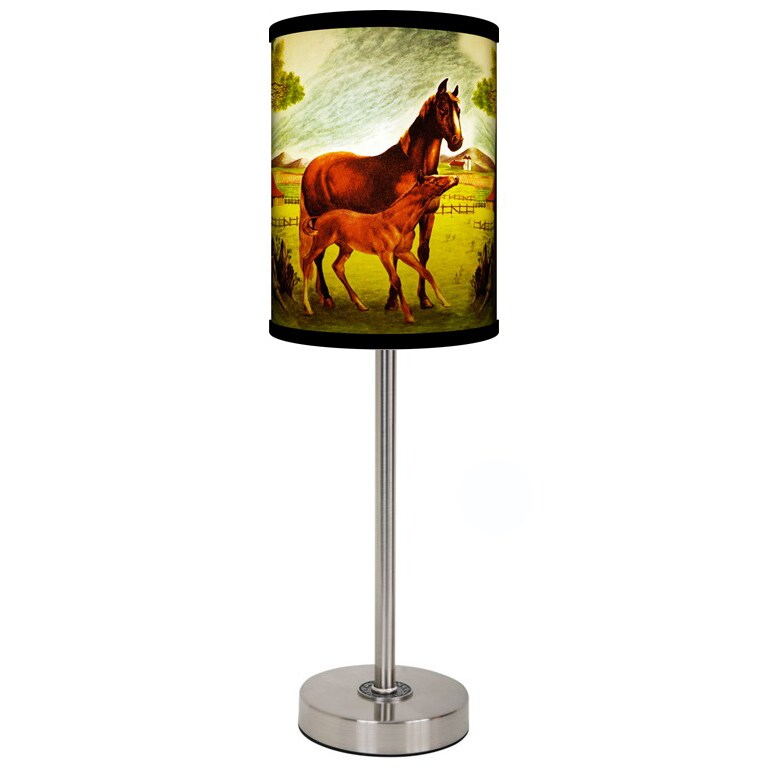 Lamp-In-A-Box Jack n Jill Horses Brushed Nickel Table Lamp