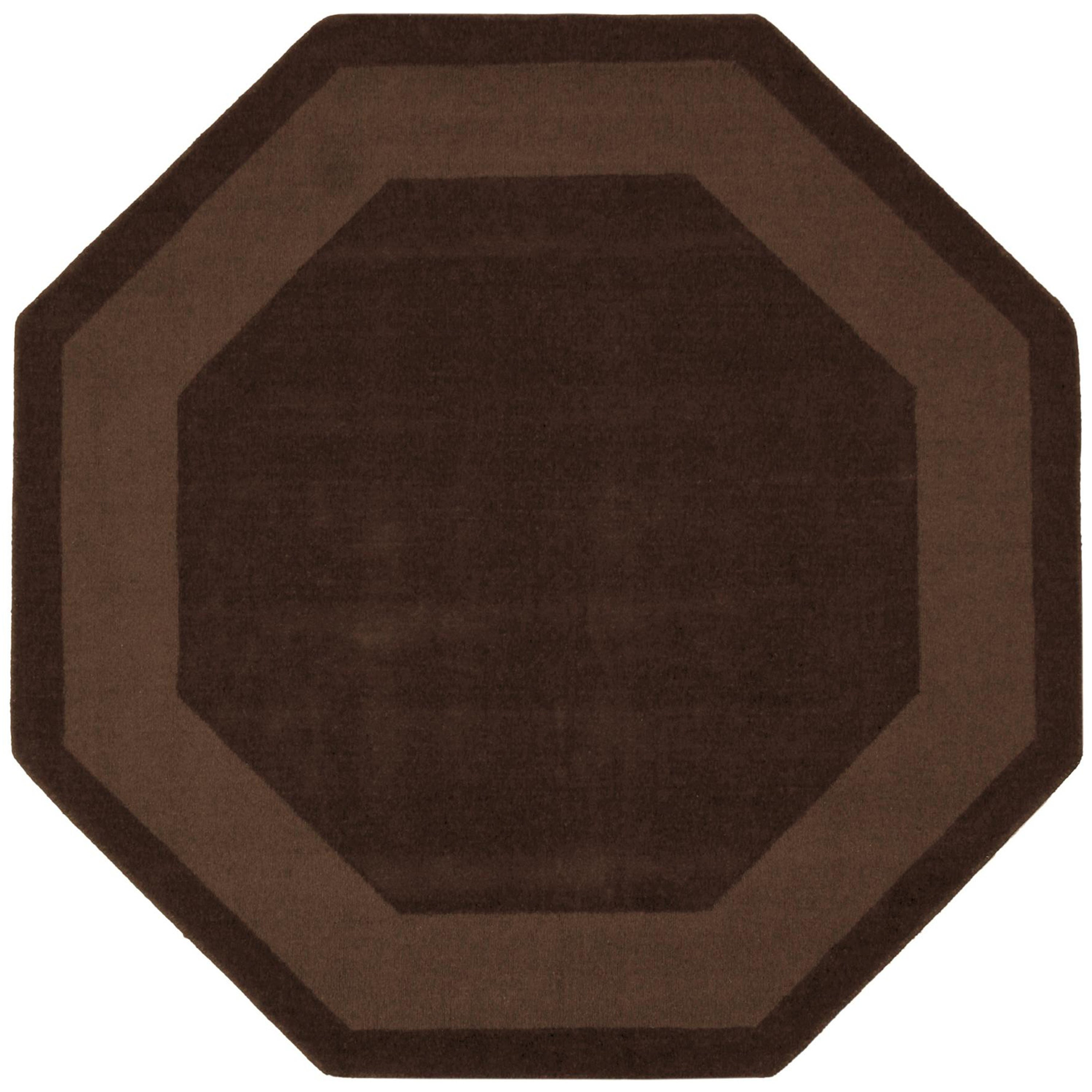 Hand Tufted Chocolate Border Wool Rug 8 Octagon