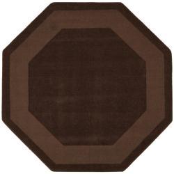 Hand-tufted Chocolate Border Wool Rug (8' Octagon)