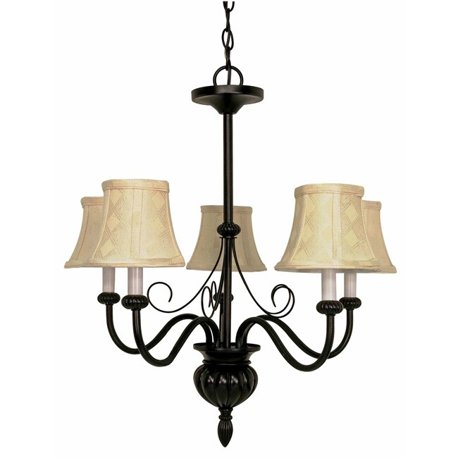 Vanguard - 5 Light Chandelier - Textured Black Finish with Diamond Patterned Shantung Shades