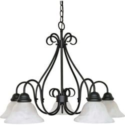Castillo - 5 Light Chandelier - Textured Black Finish with Alabaster Swirl Glass