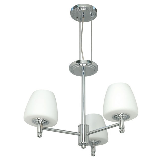 Galileo - 3 Light Chandelier - Polished Chrome Finish with White Capsule Glass