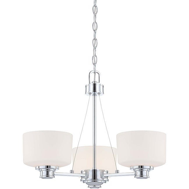 Soho - 3 Light Chandelier - Polished Chrome Finish with Satin White Glass
