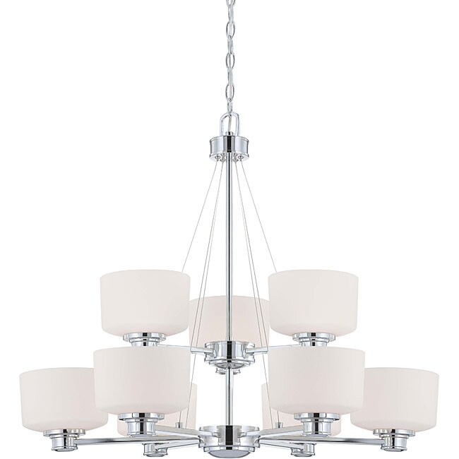Soho - 9 Light Chandelier - Polished Chrome Finish with Satin White Glass