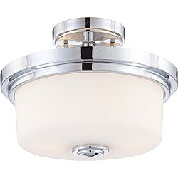 Soho - 2 Light Semi Flush Mount - Polished Chrome Finish with Satin White Glass