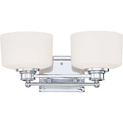 Soho - 2 Light Vanity - Polished Chrome Finish with Satin White Glass