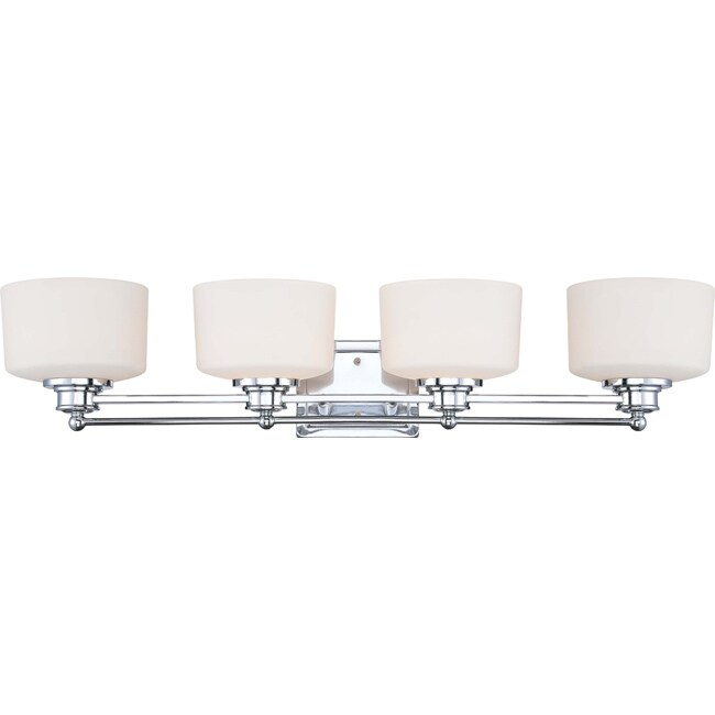 Soho - 4 Light Vanity - Polished Chrome Finish with Satin White Glass