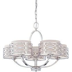 Harlow - 5 Light Chandelier - Polished Nickel Finish with Slate Gray Fabric Shade